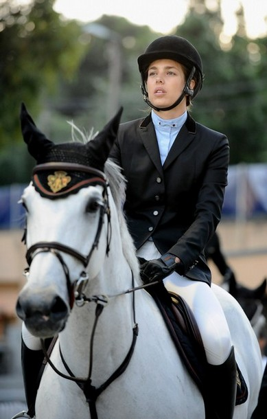 Charlotte Casiraghi competes during the  Global Champion Tour Jumping 2010