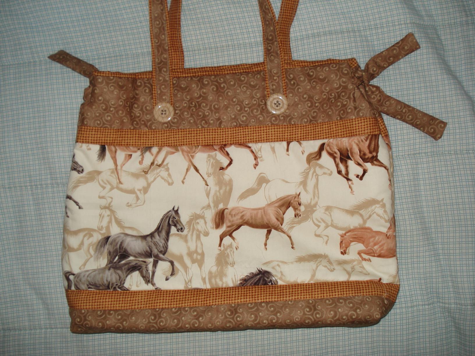 Bolsa De Tecido Linda : Bolsa de tecido com cavalos hipismo co